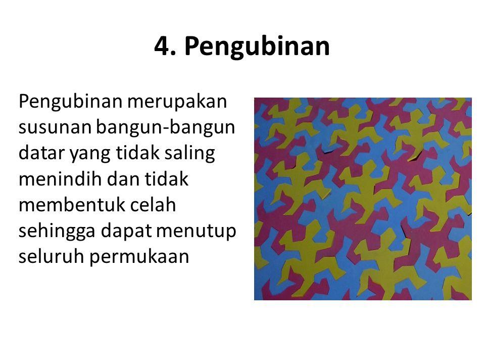 4. Pengubinan Pengubinan merupakan susunan bangun-bangun datar yang tidak saling menindih dan tidak membentuk celah sehingga dapat menutup seluruh per