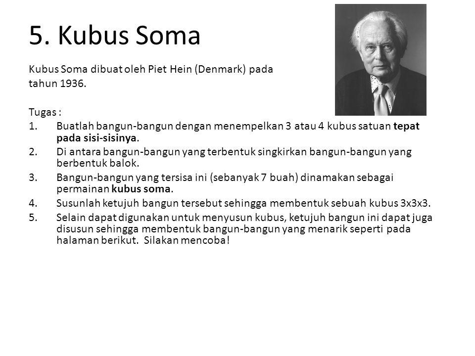 5. Kubus Soma Kubus Soma dibuat oleh Piet Hein (Denmark) pada tahun 1936. Tugas : 1.Buatlah bangun-bangun dengan menempelkan 3 atau 4 kubus satuan tep