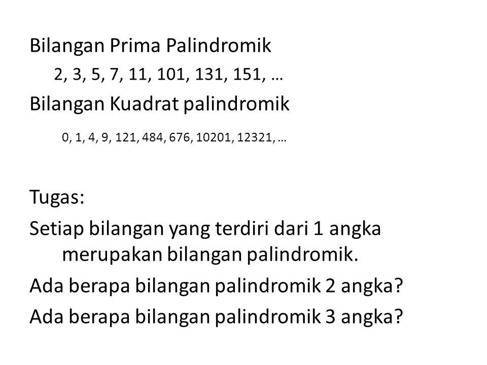 Bilangan Prima Palindromik 2, 3, 5, 7, 11, 101, 131, 151, … Bilangan Kuadrat palindromik 0, 1, 4, 9, 121, 484, 676, 10201, 12321, … Tugas: Setiap bila