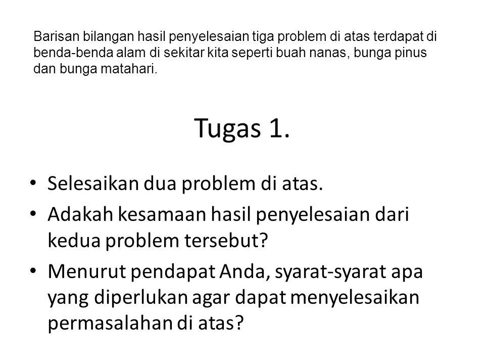 Tugas 1. Selesaikan dua problem di atas. Adakah kesamaan hasil penyelesaian dari kedua problem tersebut? Menurut pendapat Anda, syarat-syarat apa yang