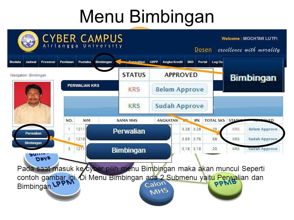 Menu Bimbingan Pada saat masuk ke cyber pilih menu Bimbingan maka akan muncul Seperti contoh gambar ini.
