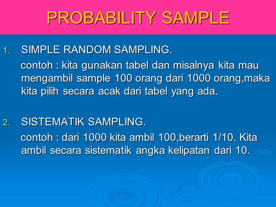 PROBABILITY SAMPLE 1. SIMPLE RANDOM SAMPLING. contoh : kita gunakan tabel dan misalnya kita mau mengambil sample 100 orang dari 1000 orang,maka kita p