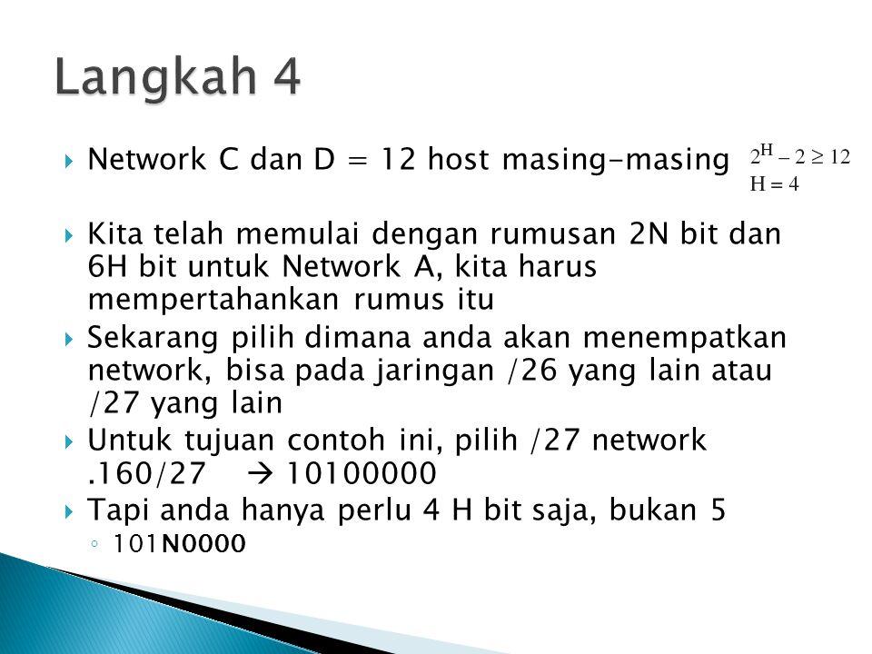  Network C dan D = 12 host masing-masing  Kita telah memulai dengan rumusan 2N bit dan 6H bit untuk Network A, kita harus mempertahankan rumus itu 