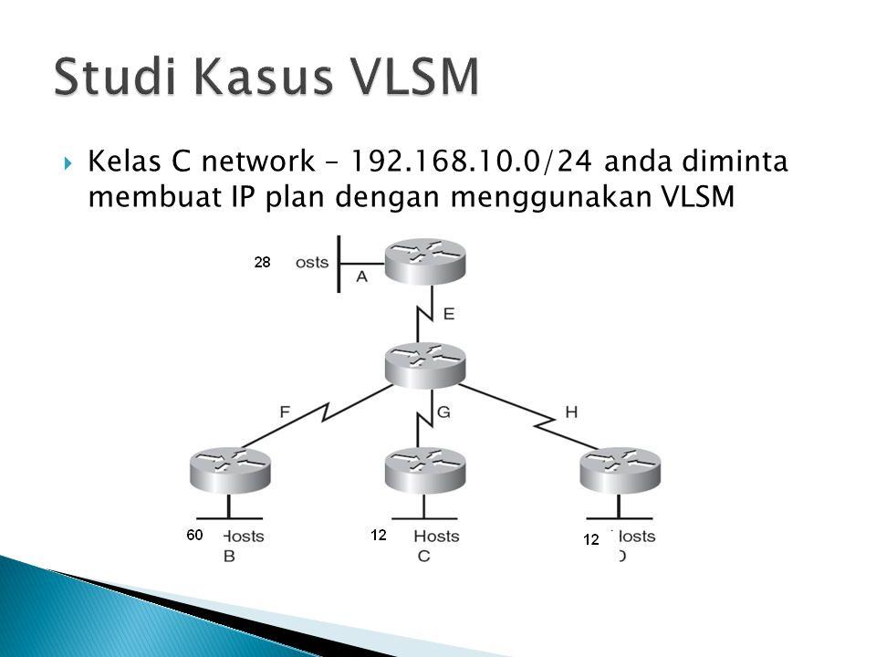  Kelas C network – 192.168.10.0/24 anda diminta membuat IP plan dengan menggunakan VLSM