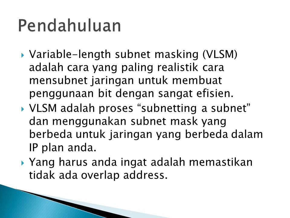  Variable-length subnet masking (VLSM) adalah cara yang paling realistik cara mensubnet jaringan untuk membuat penggunaan bit dengan sangat efisien.