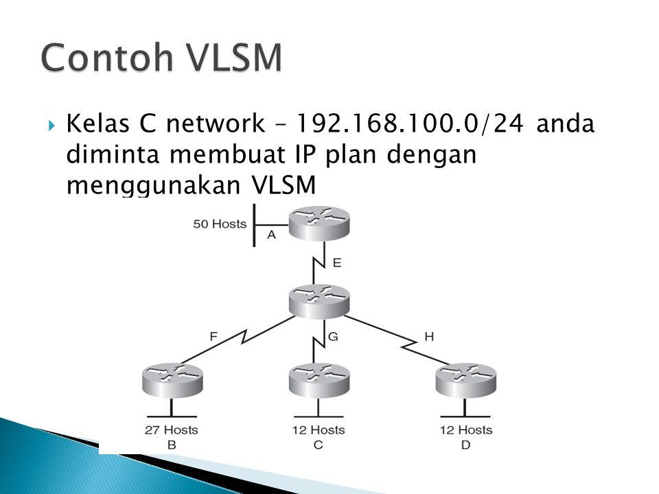  Kelas C network – 192.168.100.0/24 anda diminta membuat IP plan dengan menggunakan VLSM