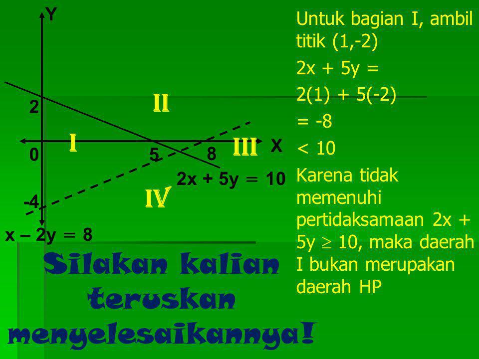 Berikut ini adalah cara lain menyelesaikan contoh di atas 5 8 2 -4 X Y 0 x – 2y = 8 2x + 5y = 10 Kedua garis 2x + 5y = 10 dan x – 2y = 8, yang berpoto