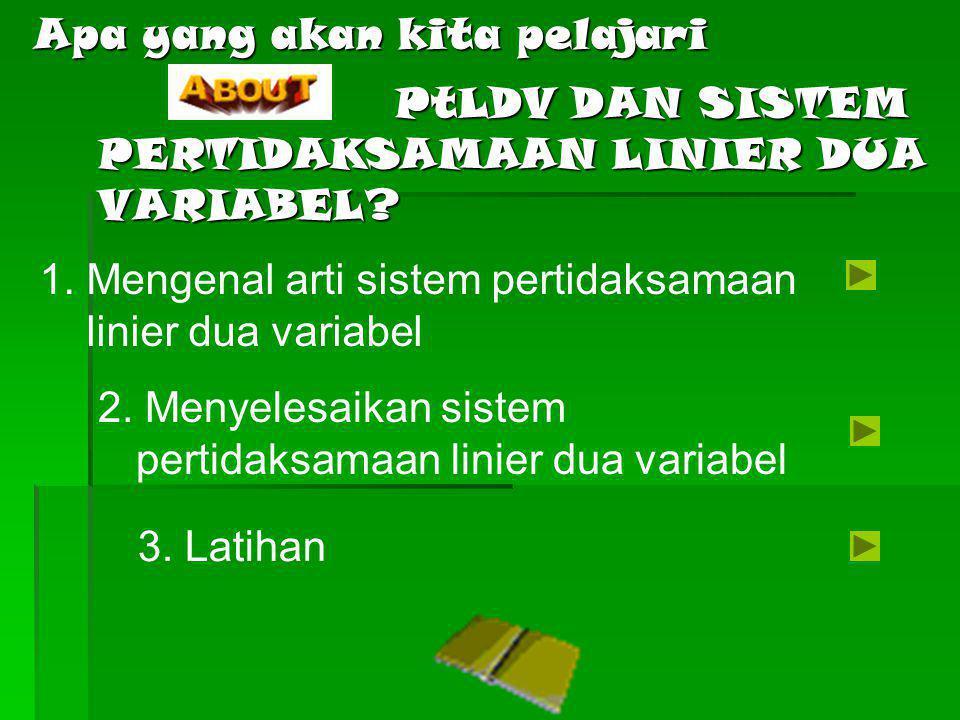 3MENUPertidaksamaan Linier Dua Variabel (PtLDV) Sistem Pertidaksamaan Linier Dua Variabel