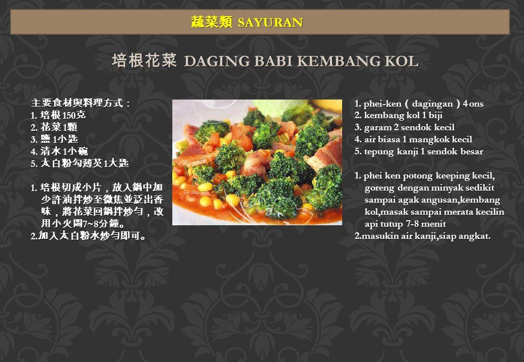 湯類 SUP 酸辣湯 SUP ASAM PEDAS 主要食材與料理方式: 1.雞蛋 1 個 ( 打散調勻 ) 2.