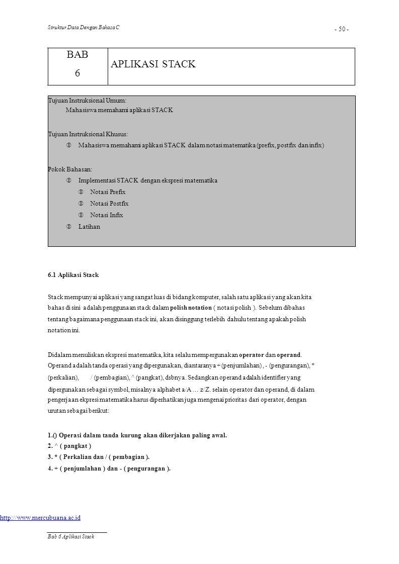 Struktur Data Dengan Bahasa C - 50 - BAB 6 APLIKASI STACK Tujuan Instruksional Umum: Mahasiswa memahami aplikasi STACK Tujuan Instruksional Khusus: 