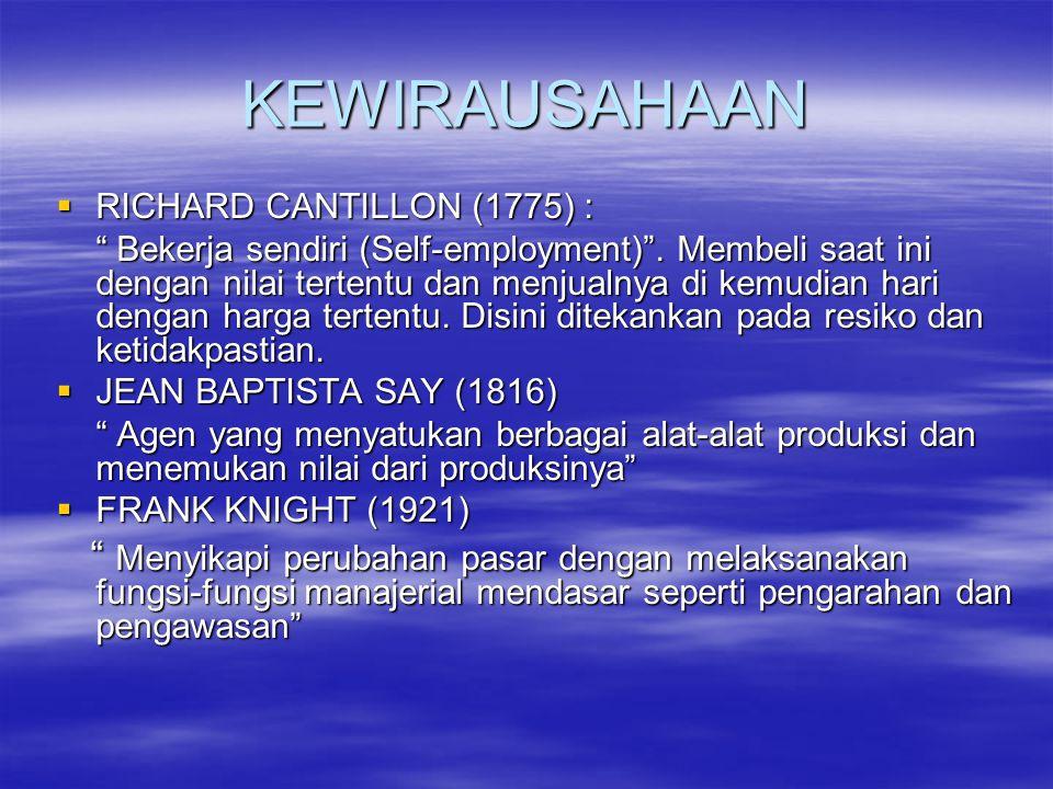 """KEWIRAUSAHAAN  RICHARD CANTILLON (1775) : """" Bekerja sendiri (Self-employment)"""". Membeli saat ini dengan nilai tertentu dan menjualnya di kemudian har"""