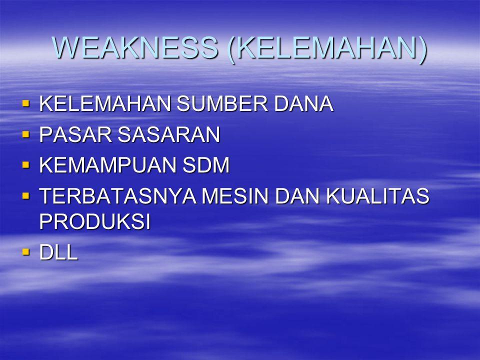 WEAKNESS (KELEMAHAN)  KELEMAHAN SUMBER DANA  PASAR SASARAN  KEMAMPUAN SDM  TERBATASNYA MESIN DAN KUALITAS PRODUKSI  DLL