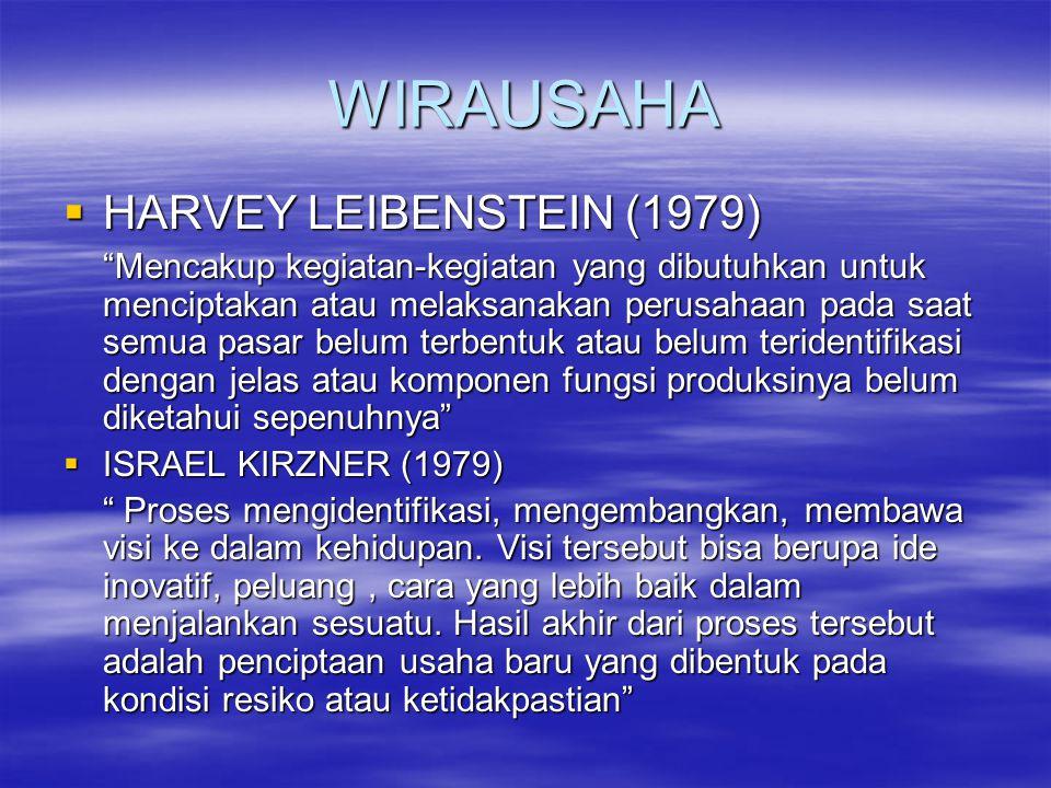 """WIRAUSAHA  HARVEY LEIBENSTEIN (1979) """"Mencakup kegiatan-kegiatan yang dibutuhkan untuk menciptakan atau melaksanakan perusahaan pada saat semua pasar"""