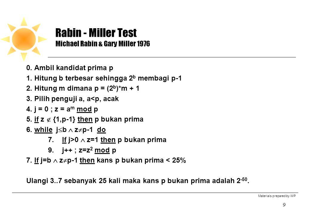 Materials prepared by WP 9 Rabin - Miller Test Michael Rabin & Gary Miller 1976 0. Ambil kandidat prima p 1. Hitung b terbesar sehingga 2 b membagi p-