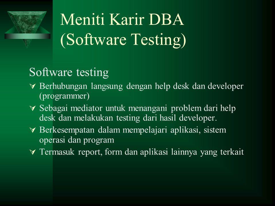 Meniti Karir DBA (Software Testing) Software testing  Berhubungan langsung dengan help desk dan developer (programmer)  Sebagai mediator untuk menan