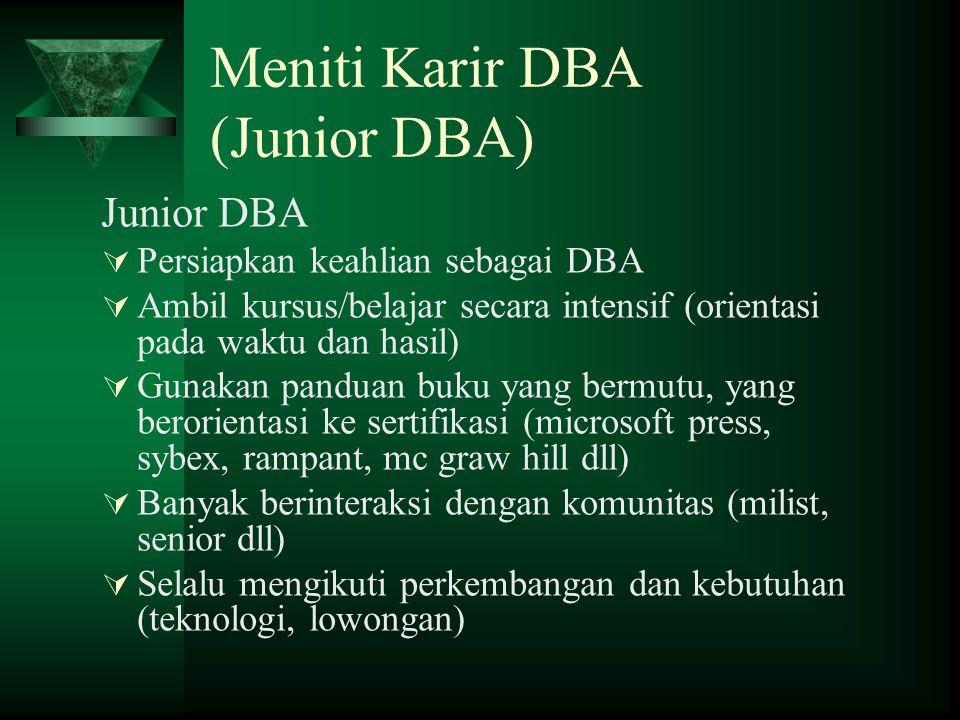 Meniti Karir DBA (Junior DBA) Junior DBA  Persiapkan keahlian sebagai DBA  Ambil kursus/belajar secara intensif (orientasi pada waktu dan hasil)  G