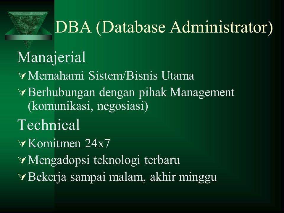 DBA (Database Administrator) Manajerial  Memahami Sistem/Bisnis Utama  Berhubungan dengan pihak Management (komunikasi, negosiasi) Technical  Komit