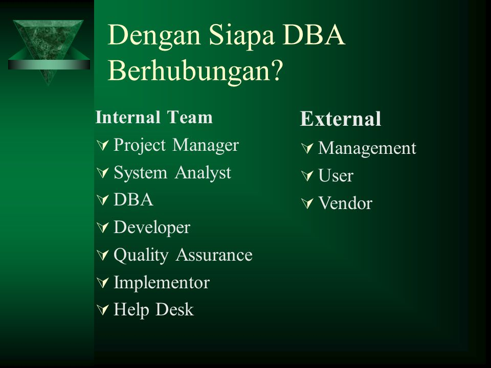 Meniti Karir DBA (System Admin) System Administrator (OS Admin) :  Windows, UNIX, LINUX etc  Pengelolaan user, hak akses (access right), kuota memory, optimal konfigurasi  Aktifitas rutin : backup, kontrol sistem, audit sistem  DBMS selalu berjalan di Operating System