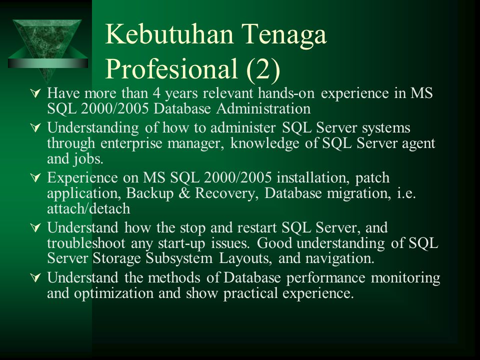 Kebutuhan Tenaga Profesional (2)  Have more than 4 years relevant hands-on experience in MS SQL 2000/2005 Database Administration  Understanding of how to administer SQL Server systems through enterprise manager, knowledge of SQL Server agent and jobs.