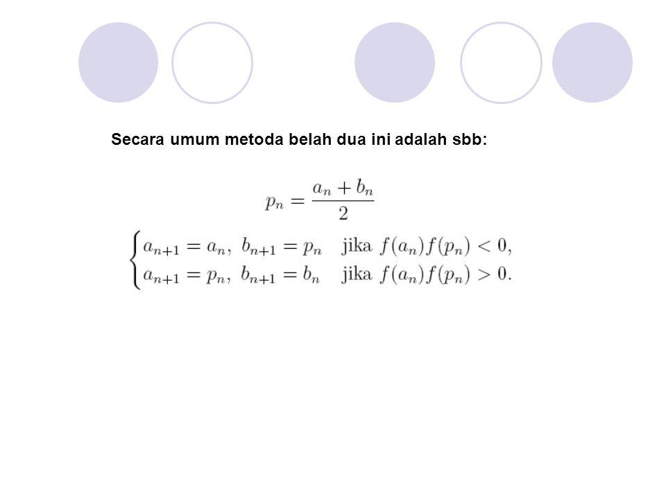 x = a = p 0 x = b = p 1 y = f(x) p : akar eksak METODA SECANT p2p2 p3p3 (a,f(a)) (b,f(b)) Perhatikan interval [a, b] yang memuat akar eksak p.