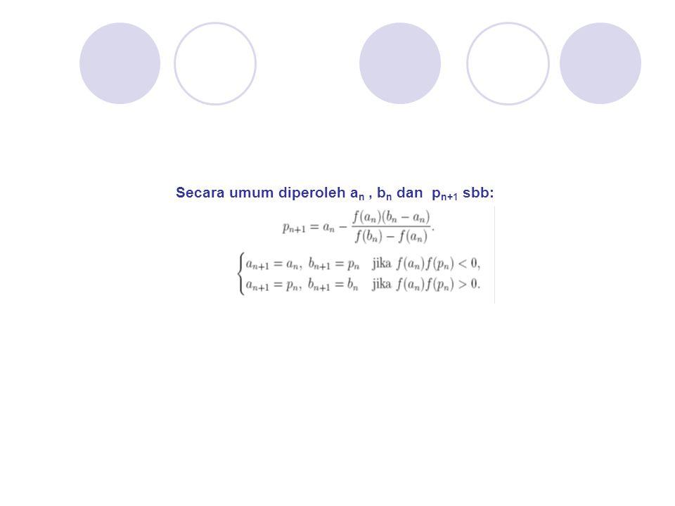 Secara umum diperoleh a n, b n dan p n+1 sbb: