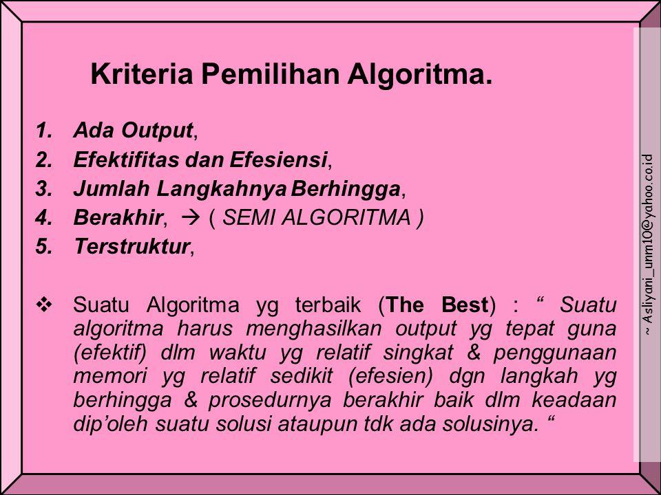 Kriteria Pemilihan Algoritma. 1.Ada Output, 2.Efektifitas dan Efesiensi, 3.Jumlah Langkahnya Berhingga, 4.Berakhir,  ( SEMI ALGORITMA ) 5.Terstruktur