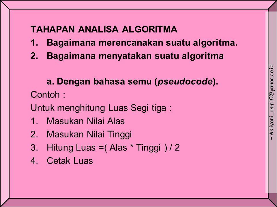 TAHAPAN ANALISA ALGORITMA 1. Bagaimana merencanakan suatu algoritma. 2.Bagaimana menyatakan suatu algoritma a. Dengan bahasa semu (pseudocode). Contoh