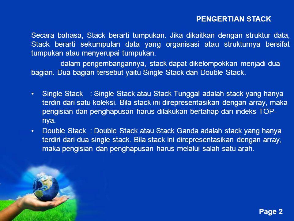 Free Powerpoint Templates Page 2 Secara bahasa, Stack berarti tumpukan. Jika dikaitkan dengan struktur data, Stack berarti sekumpulan data yang organi