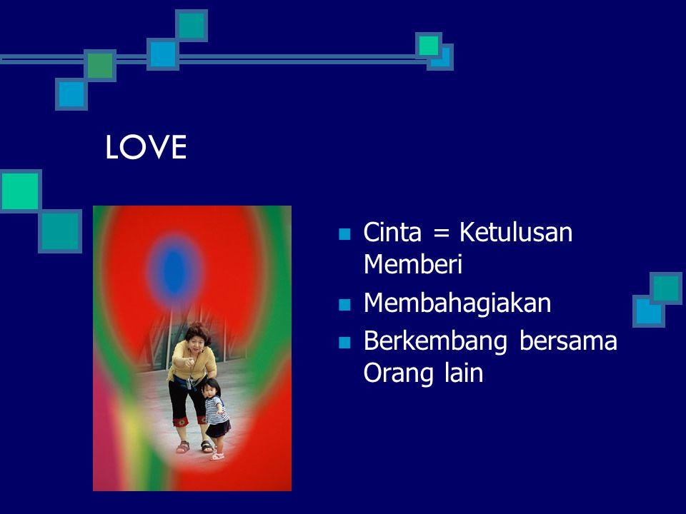 LOVE Cinta = Ketulusan Memberi Membahagiakan Berkembang bersama Orang lain