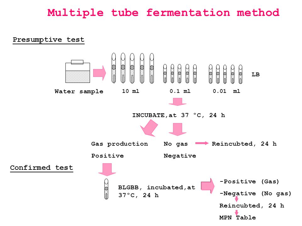 Multiple tube fermentation method BLGBB, incubated,at 37°C, 24 h Confirmed test -Positive (Gas) -Negative (No gas) Reincubted, 24 h MPN Table Water sa