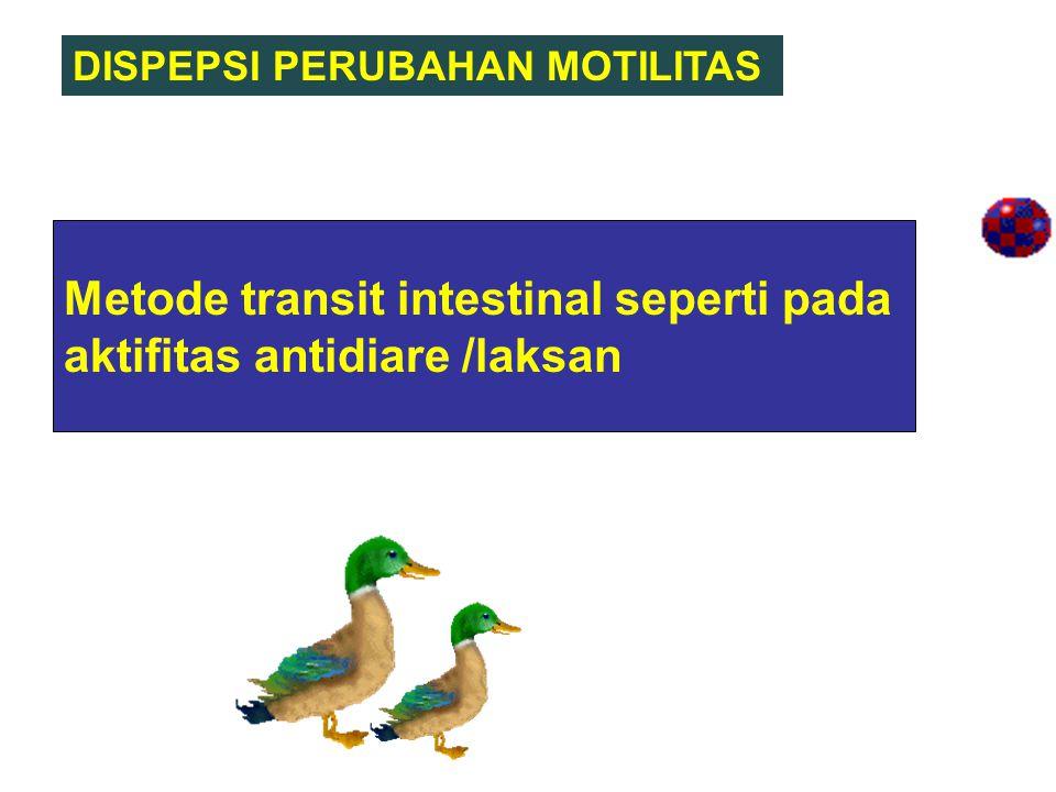 Metode transit intestinal seperti pada aktifitas antidiare /laksan DISPEPSI PERUBAHAN MOTILITAS