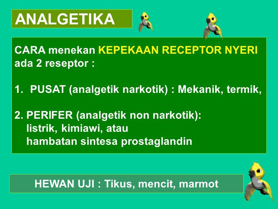 ANALGETIKA CARA menekan KEPEKAAN RECEPTOR NYERI ada 2 reseptor : 1.PUSAT (analgetik narkotik) : Mekanik, termik, 2. PERIFER (analgetik non narkotik):