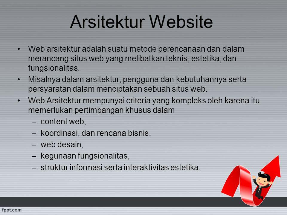 Arsitektur Website Web arsitektur adalah suatu metode perencanaan dan dalam merancang situs web yang melibatkan teknis, estetika, dan fungsionalitas.