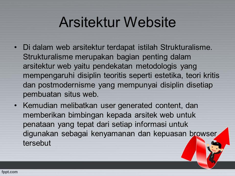 Arsitektur Website Di dalam web arsitektur terdapat istilah Strukturalisme. Strukturalisme merupakan bagian penting dalam arsitektur web yaitu pendeka