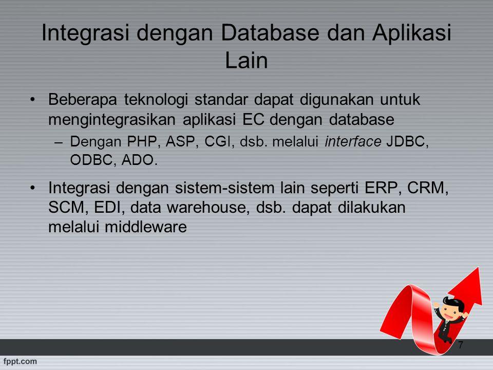 7 Integrasi dengan Database dan Aplikasi Lain Beberapa teknologi standar dapat digunakan untuk mengintegrasikan aplikasi EC dengan database –Dengan PH