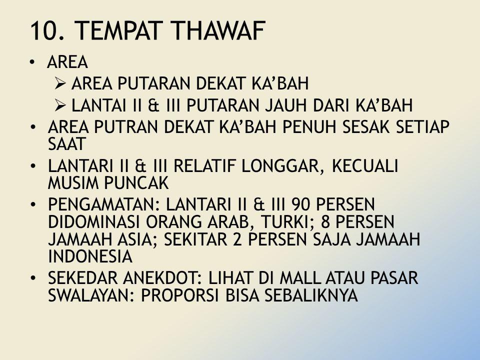 10. TEMPAT THAWAF AREA  AREA PUTARAN DEKAT KA'BAH  LANTAI II & III PUTARAN JAUH DARI KA'BAH AREA PUTRAN DEKAT KA'BAH PENUH SESAK SETIAP SAAT LANTARI
