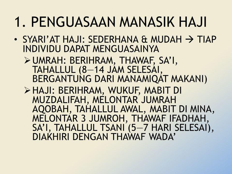 1. PENGUASAAN MANASIK HAJI SYARI'AT HAJI: SEDERHANA & MUDAH  TIAP INDIVIDU DAPAT MENGUASAINYA  UMRAH: BERIHRAM, THAWAF, SA'I, TAHALLUL (8—14 JAM SEL