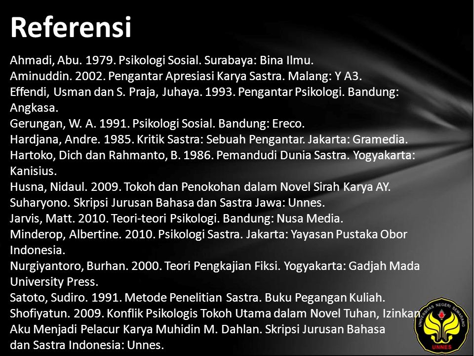 Referensi Ahmadi, Abu. 1979. Psikologi Sosial. Surabaya: Bina Ilmu.