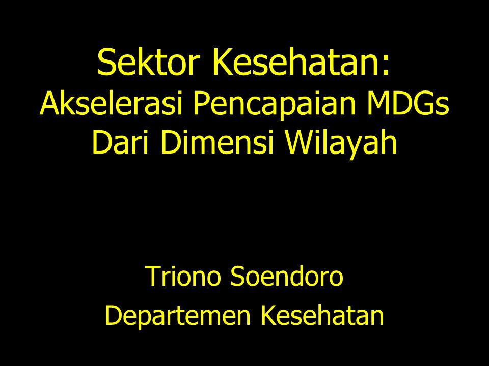 Sektor Kesehatan: Akselerasi Pencapaian MDGs Dari Dimensi Wilayah Triono Soendoro Departemen Kesehatan