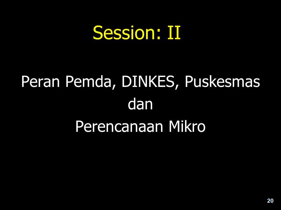 20 Session: II Peran Pemda, DINKES, Puskesmas dan Perencanaan Mikro