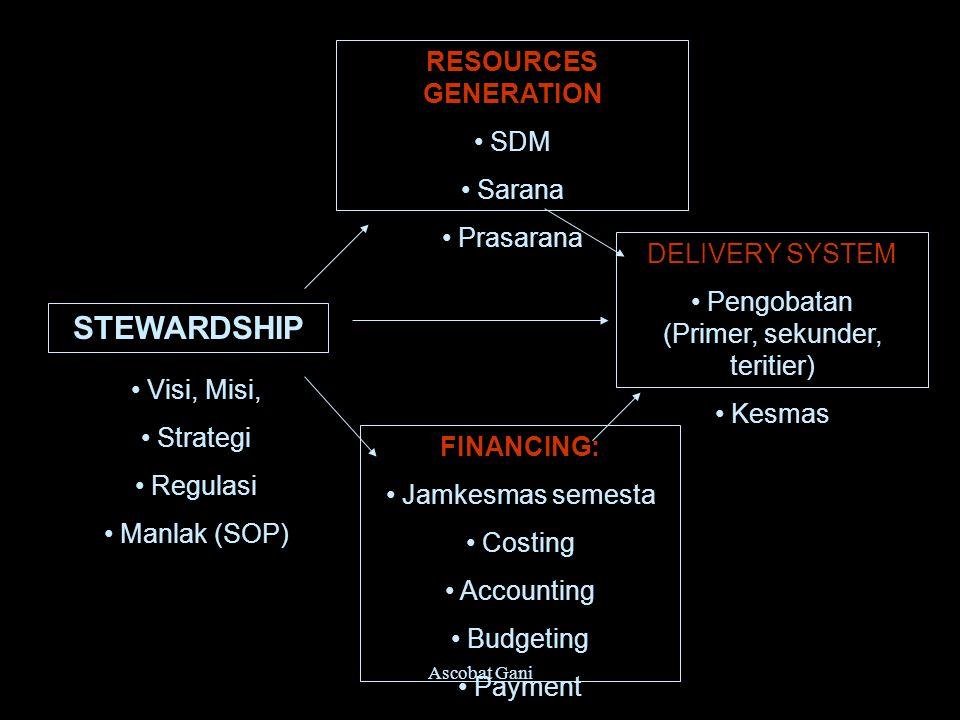 Ascobat Gani STEWARDSHIP RESOURCES GENERATION SDM Sarana Prasarana FINANCING: Jamkesmas semesta Costing Accounting Budgeting Payment DELIVERY SYSTEM P