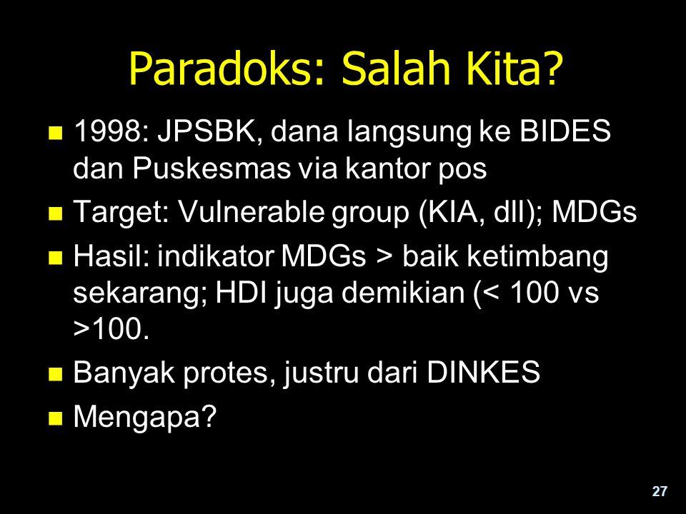 27 Paradoks: Salah Kita? n 1998: JPSBK, dana langsung ke BIDES dan Puskesmas via kantor pos n Target: Vulnerable group (KIA, dll); MDGs n Hasil: indik