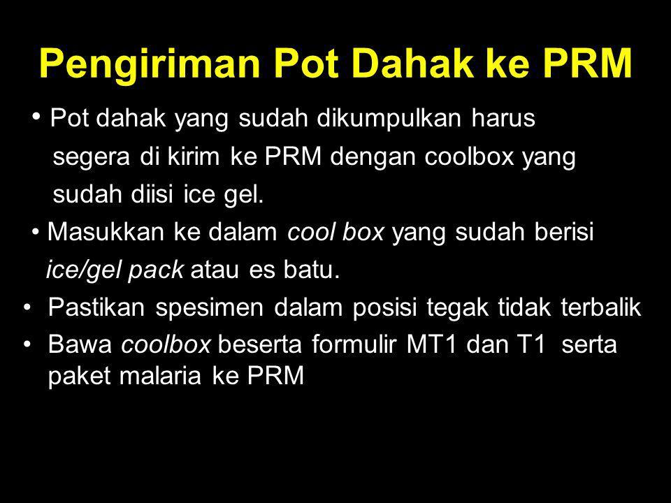 Pengiriman Pot Dahak ke PRM Pot dahak yang sudah dikumpulkan harus segera di kirim ke PRM dengan coolbox yang sudah diisi ice gel. Masukkan ke dalam c