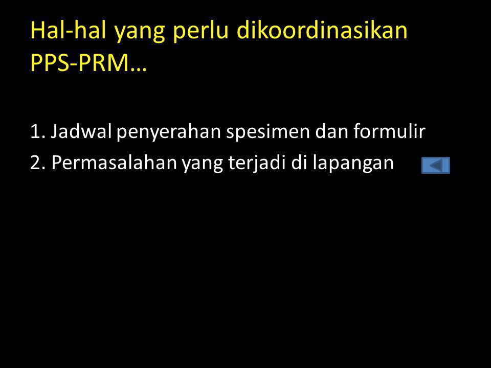 1. Jadwal penyerahan spesimen dan formulir 2. Permasalahan yang terjadi di lapangan Hal-hal yang perlu dikoordinasikan PPS-PRM…