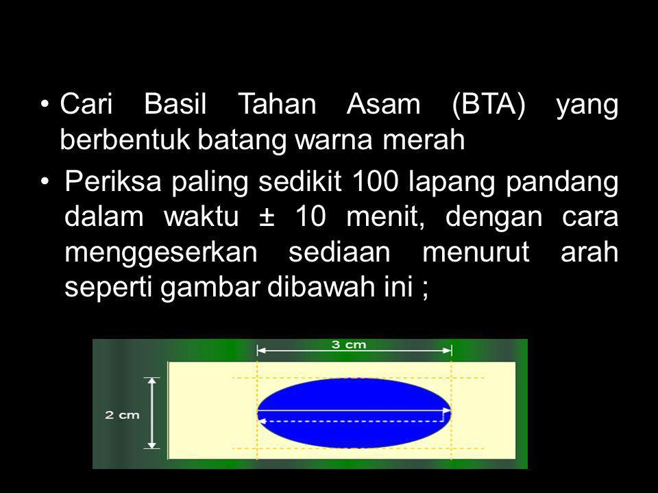 Cari Basil Tahan Asam (BTA) yang berbentuk batang warna merah Periksa paling sedikit 100 lapang pandang dalam waktu ± 10 menit, dengan cara menggeserk