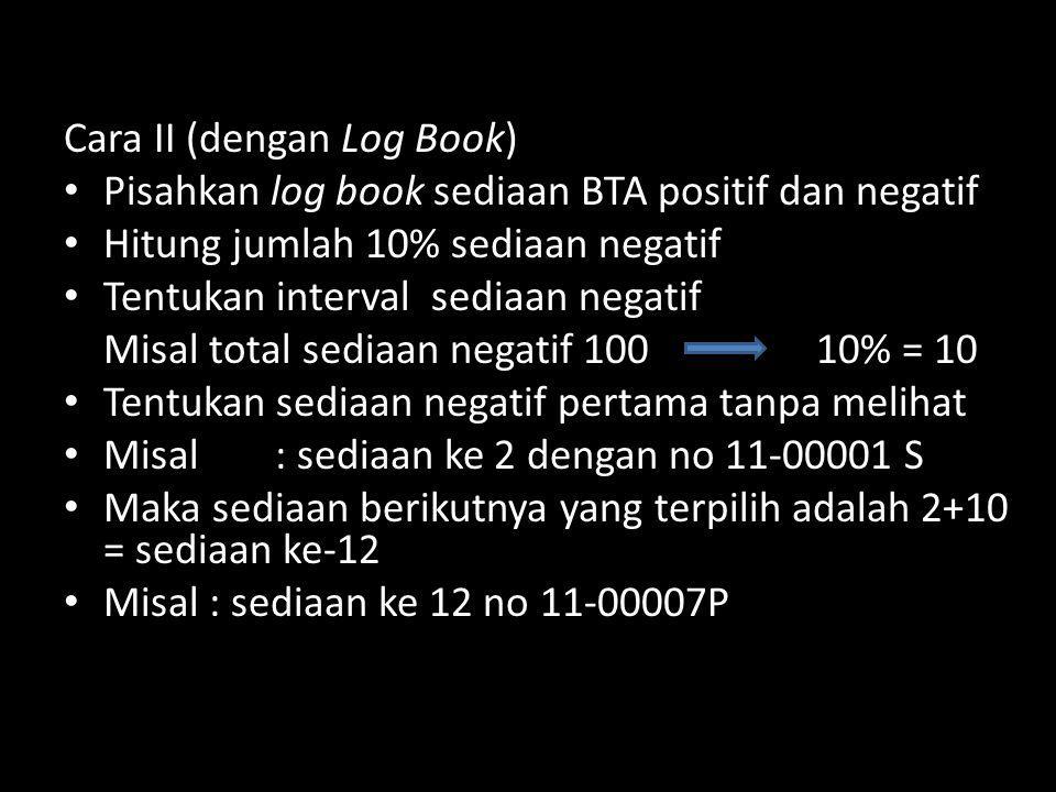 Cara II (dengan Log Book) Pisahkan log book sediaan BTA positif dan negatif Hitung jumlah 10% sediaan negatif Tentukan interval sediaan negatif Misal