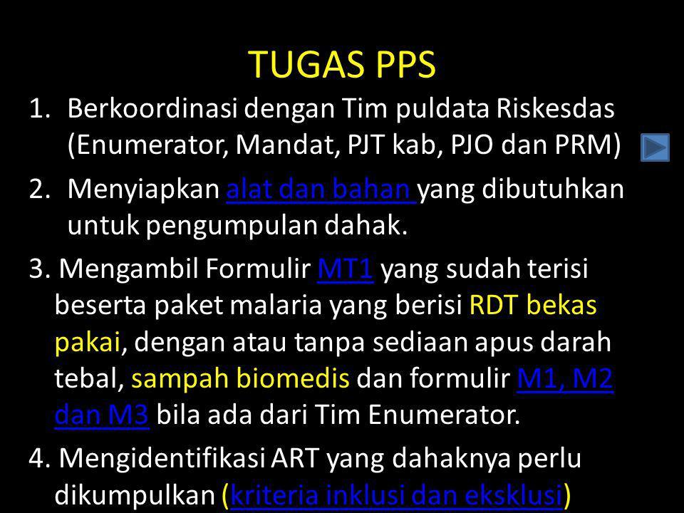 TUGAS PPS 1.Berkoordinasi dengan Tim puldata Riskesdas (Enumerator, Mandat, PJT kab, PJO dan PRM) 2.Menyiapkan alat dan bahan yang dibutuhkan untuk pe