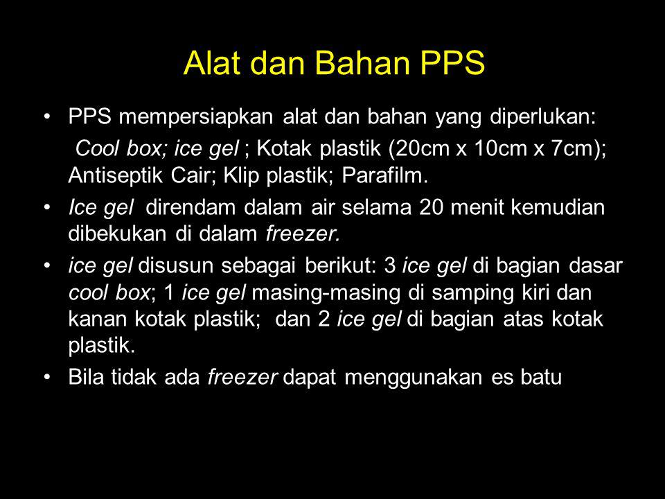 Alat dan Bahan PPS PPS mempersiapkan alat dan bahan yang diperlukan: Cool box; ice gel ; Kotak plastik (20cm x 10cm x 7cm); Antiseptik Cair; Klip plas