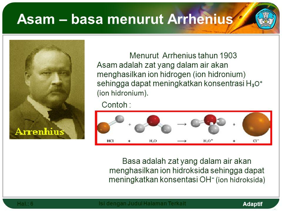 Adaptif Lanjutan Hal.: 7 Isi dengan Judul Halaman Terkait Contoh : Konsep asam basa Arrhenius hanya terbatas pada larutan air, sehingga tidak dapat diterapkan pada larutan non air.
