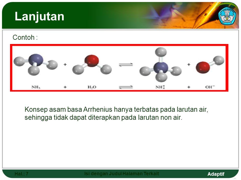 Adaptif Asam–Basa Menurut Bronsted-Lowry Hal.: 8 Isi dengan Judul Halaman Terkait Menurut Bronsted-Lowry tahun 1923 : Asam adalah suatu senyawa yang dapat memberikan proton (H ⁺) Basa adalah suatu senyawa yang berperan sebagai penerima proton (H⁺) Reaksi :